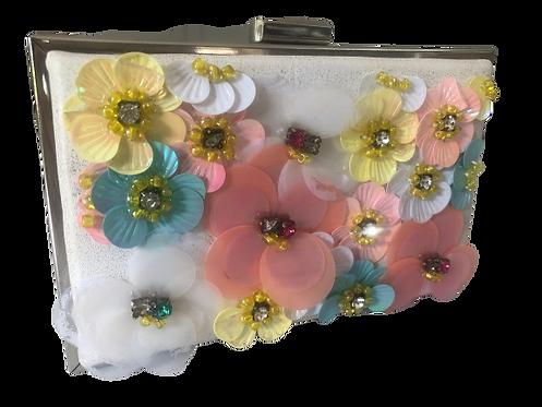 White floral box bag