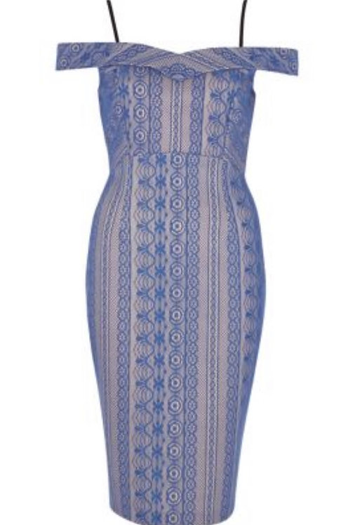 Size 10 Blue Lace pencil dress Bardot style