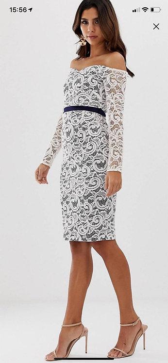 Size 14 Cream & Navy Bardot style lace dress