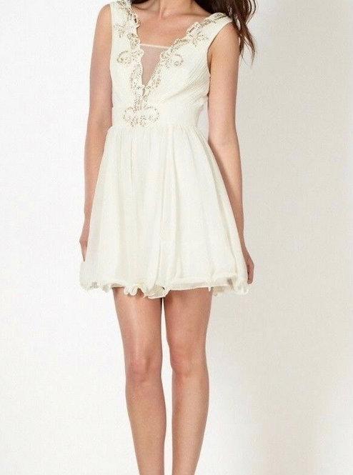Size 10 Cream Embellished Skater dress low back