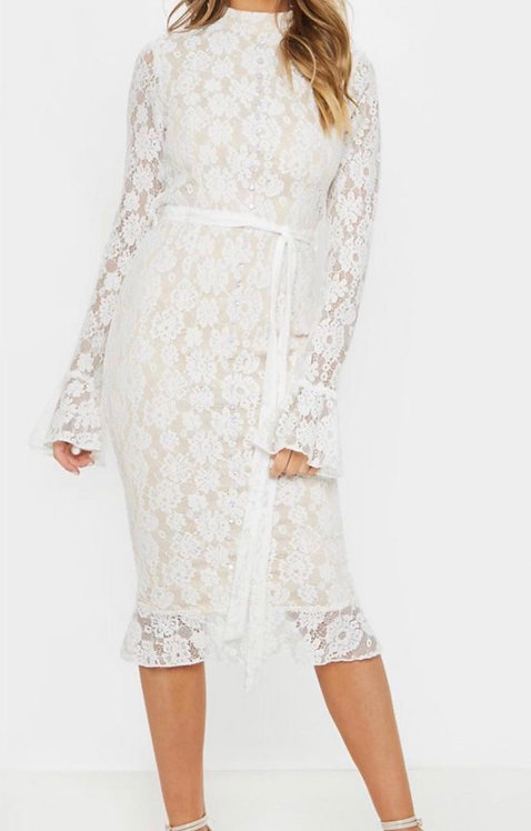 Size 16 Cream Lace high neck midi dress