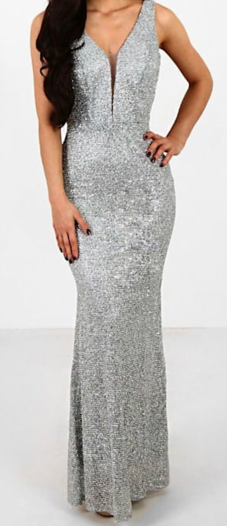 Silver Sparkly long evening dress