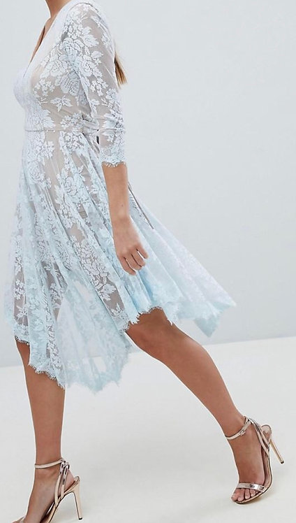 Size 10 Blue Lace & Nude Floaty dress