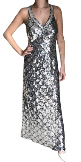 Size 8 Silver Sequin maxi dress RRP £250