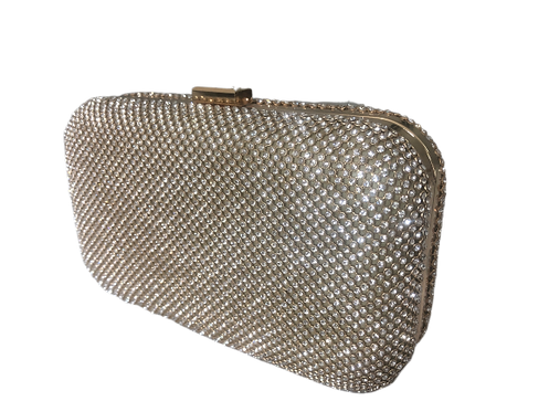 Silver diamanté box bag with gold trim
