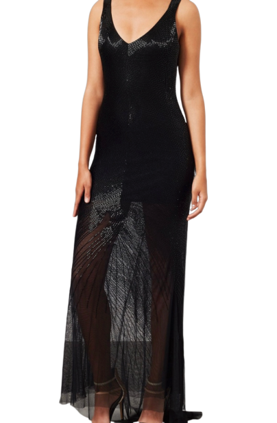 Size 10 Black beaded full length gown with mesh trail RRP £250