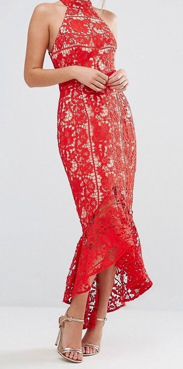Size 10 Red high neck lace midi dress