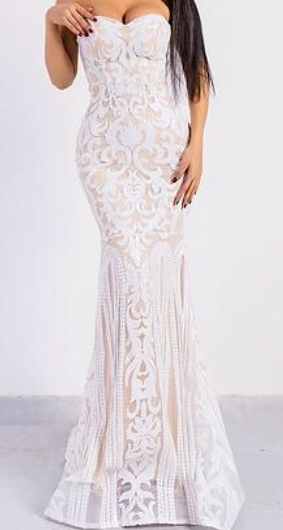 Size 10 TALL White Maxi sequinned evening dress