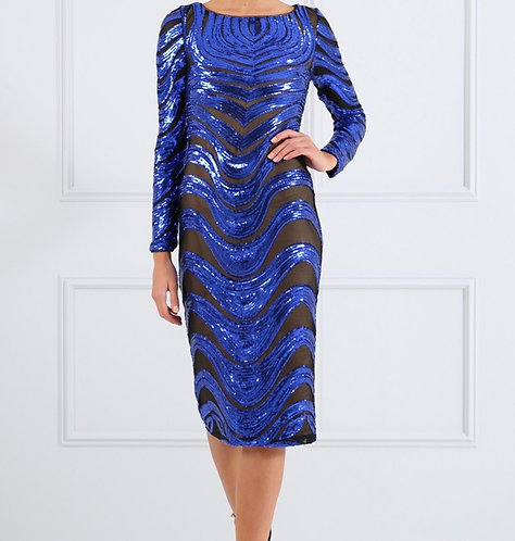 Size 8 Blue Sequin Midi Bodycon dress