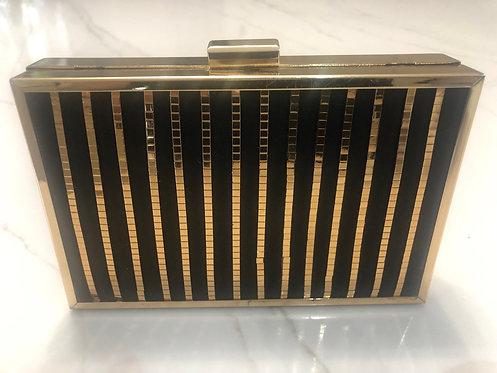 Black & Gold cigarette style clutch small