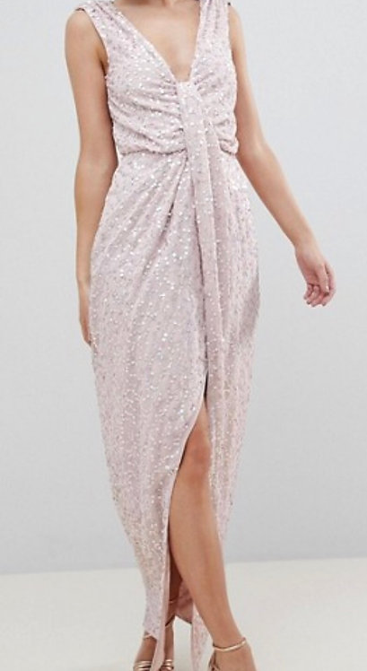 Size 10 Petite Pink sequin, full length, low back dress