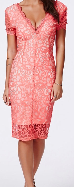 Size 10 Coral Lace Midi Dress