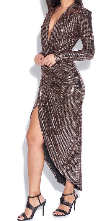 Size 8 Rose Gold Sparkly evening dress front split