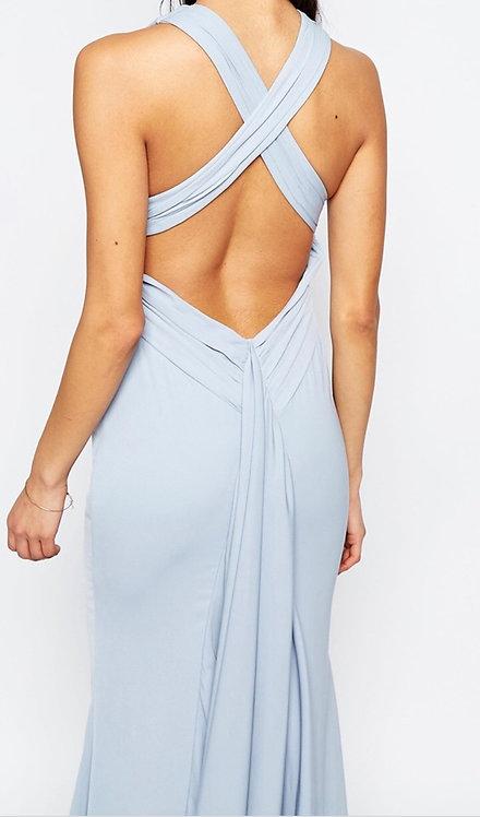Size 10 Blue Fishtail low back dress