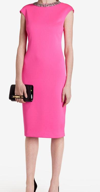 Size 10 Pink Embellished scuba pencil dress