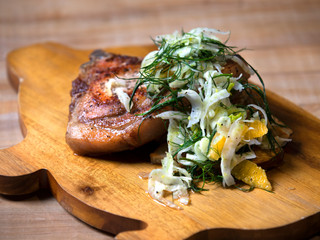 Seared Pork Chop with Roasted Potatoes & Citrus Fennel Slaw