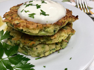 Zucchini Fritters with Garlic Yogurt Sauce