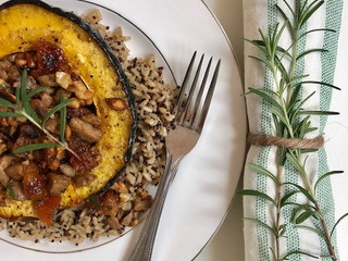Roasted Acorn Squash with Apricot Walnut Stuffing