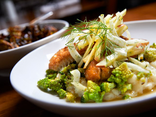 Walleye with Broccoli & Romanesco Risotto & Fennel Apple Slaw by Aurelia