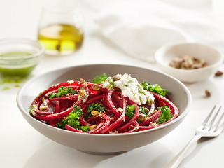 Beet Noodles with Kale, Parsley Pesto & Ricotta