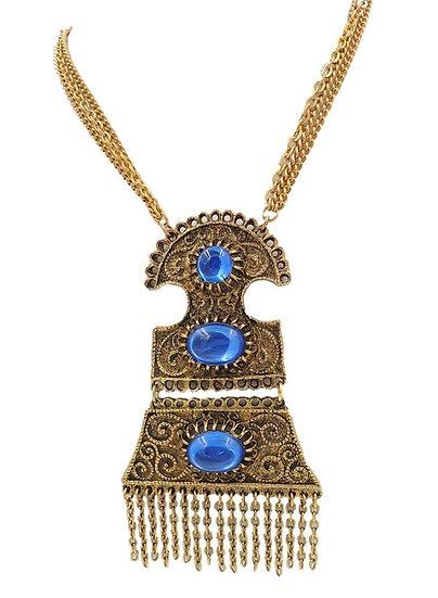1960s Cabochon Fringe Bib Necklace