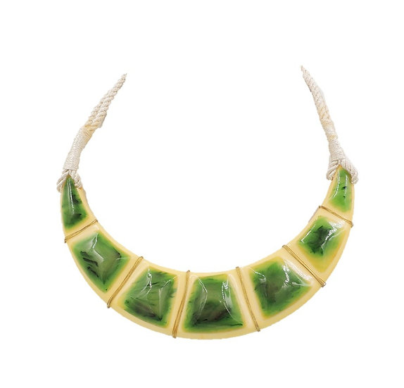 1970s Valentino Wrapped Green & Ivory Lucite Collar Necklace