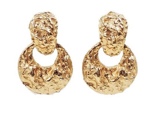 """1970s Napier Goldtone """"Nugget"""" Hoop Earrings"""