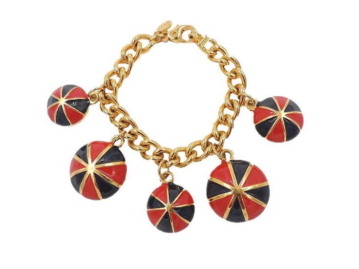 Escada Red & Black Enamel Charm Bracelet
