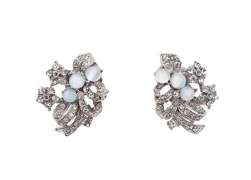 1950s Rhodium Plated Cabochon Faux-Blue Moonstone Earrings