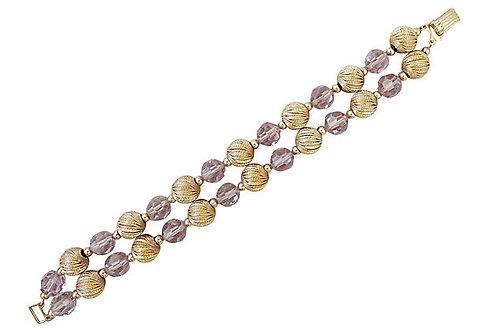 1960s Napier Book Piece Purple Beaded Bracelet