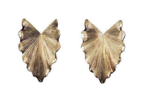 1960s Napier Book Piece Goldtone Florentine Finish Leaf Earrings