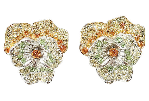 Late 1950s Boucher Pansy Earrings