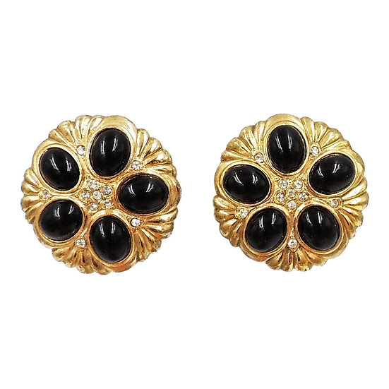 1980s Pierre Balmain Goldtone Cabochon Faux-Onyx Earrings