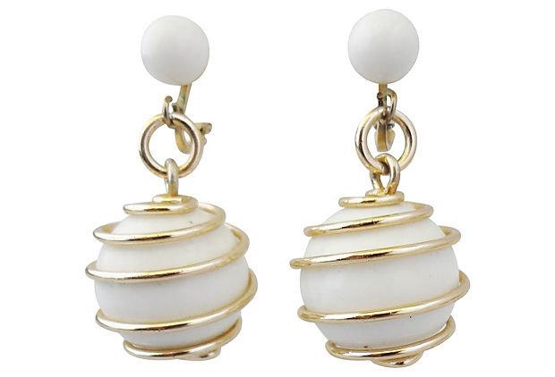 Trifari White Spiral Earrings, 1954