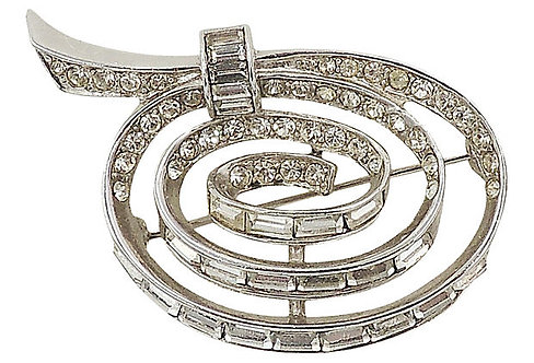 Boucher Rhodium Plated Rhinestone Spiral Pin