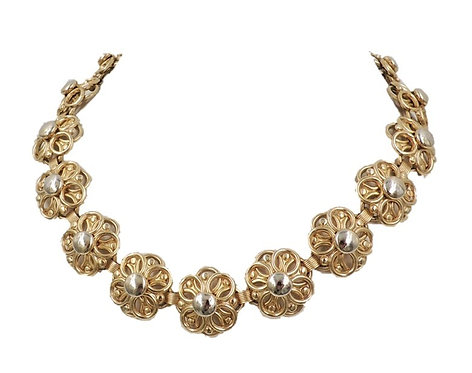 Napier Goldtone Flower Link Necklace