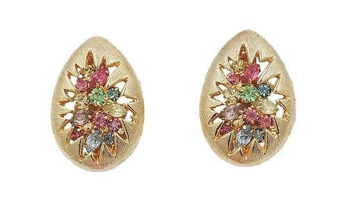 "Napier Pastel Rhinestone ""Burst"" Earrings"