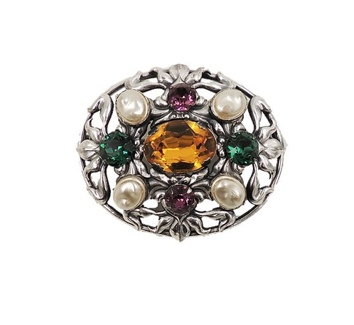 1950s Napier Silvertone Faux-Pearl & Jewel Colored Rhinestones Brooch