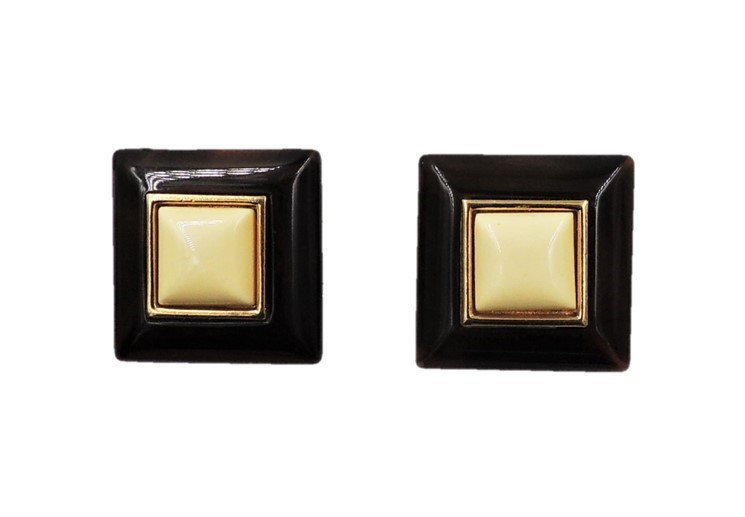 1970s Trifari Brown & Ivory Lucite Square Earrings