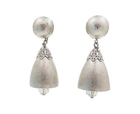 1970s Napier Silvertone Bell Earrings