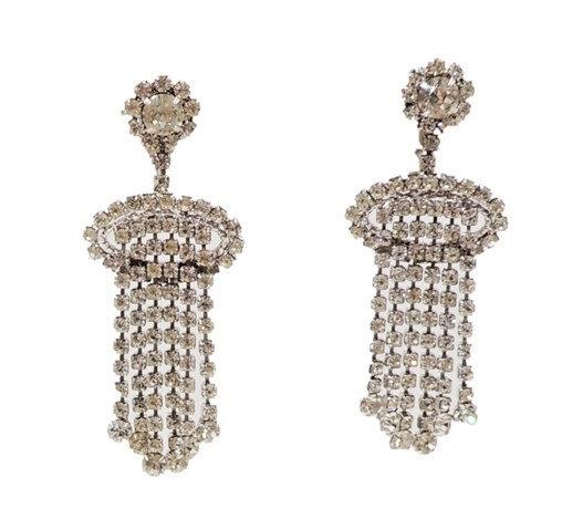 1960s Napier Rhodium Plated Clear Rhinestone Chandelier Earrings