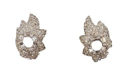 1960s Jomaz Rhodium Plated Rhinestone Earrings