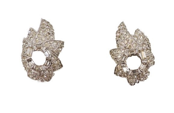 1960s Jomaz Rhodium Plated Rhinestone Earrings