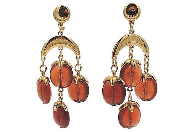 1970s Trifari Brown Beaded Chandelier Earrings