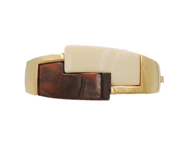 1970s Trifari Museum Piece Brown & Ivory Lucite Cuff Bracelet