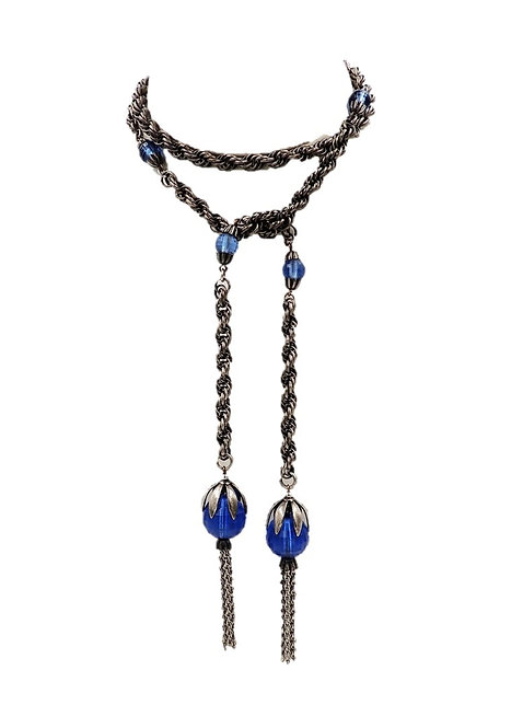 1950s Napier Blue Lariat Tassel Necklace