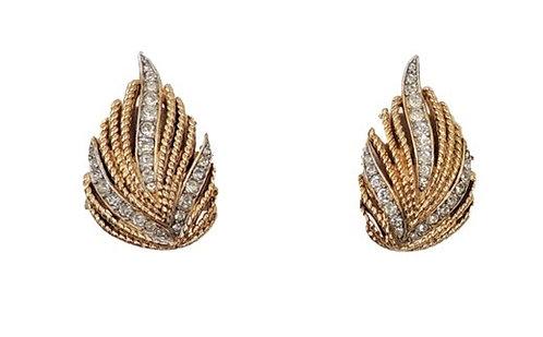 """Trifari """"Egrets"""" Goldtone & Clear Rhinestone Clip Earrings, 1963"""