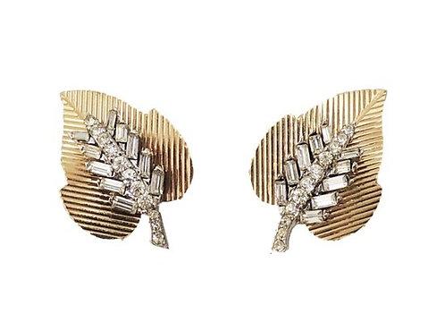 Boucher Goldtone & Clear Baguette Leaf Clip Back Earrings