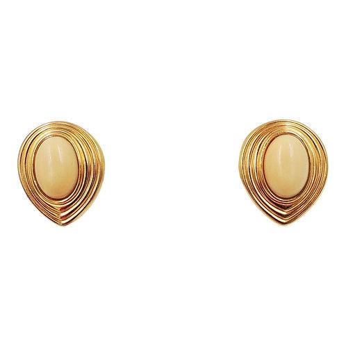 1980s Lanvin Germany Off White Rhinestone Pierced Earrings