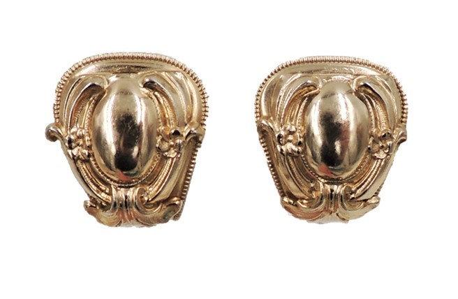1950s Napier Book Piece Baroque Style Goldtone Clip Earrings